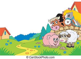 Landlandschaft mit Bauerntieren