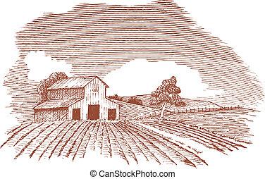 Landlandschaft mit Scheune