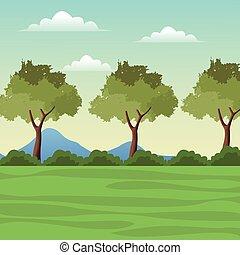 Landscape Baum Berggras.