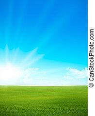 Landscape - grünes Feld, blauer Himmel