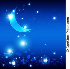 Landscape in der Nacht mit dem Mond
