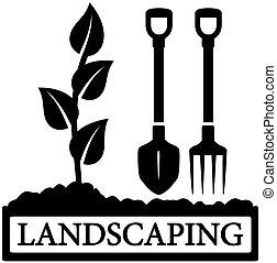Landscaping Icon mit Sprieß- und Gartenwerkzeugen.