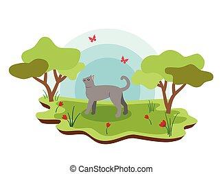 landschaft., bauernhof, katz, abbildung, tiere, fruehjahr, karikatur, reizend, vektor