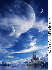 Landschaft im Fantasieplaneten.