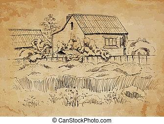 Landschaft mit altem Bauernhaus.