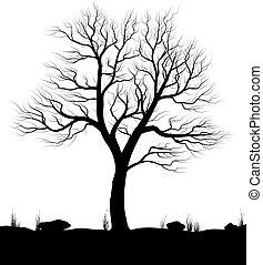 Landschaft mit altem Baum und Gras über weißem Hintergrund. Schwarze und weiße Vektorgrafik.