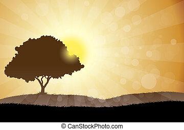 Landschaft mit Baum.