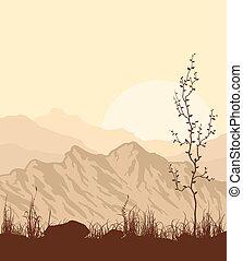 Landschaft mit Bergen, Gras und Baum.
