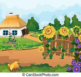 Landschaft mit einem kleinen Haus