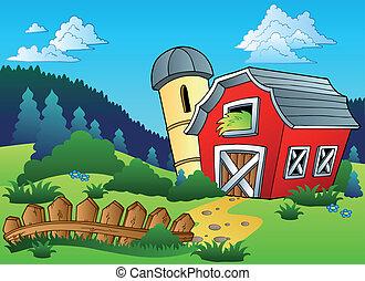Landschaft mit Farm und Zaun