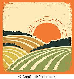 Landschaft mit Feldern auf altem Plakat