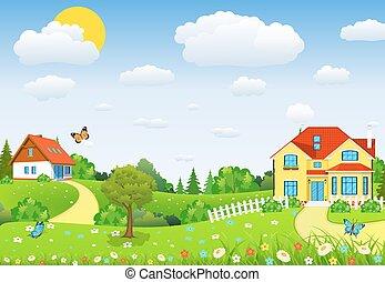 Landschaft mit Feldern und Hügeln