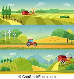 Landschaft mit Feldern und Hügeln und mit einem Bauernhof. Landwirtschaft und Landwirtschaft. Ländliche Landschaftsvorlagen. Vector Design für Infographie und Web.