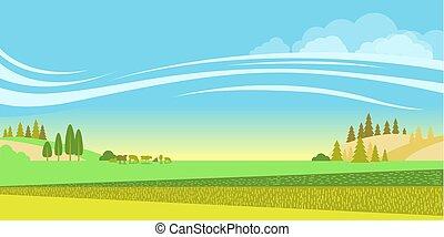 Landschaft mit Feldern und Herde von Kühen.Vector Natur Hintergrund