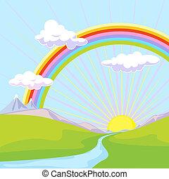 Landschaft mit Regenbogen.