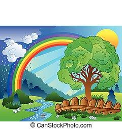 Landschaft mit Regenbogen und Baum