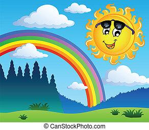 Landschaft mit Regenbogen und Sonne 1