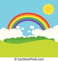 Landschaft mit Regenbogen und Sonne. Vector Illustration