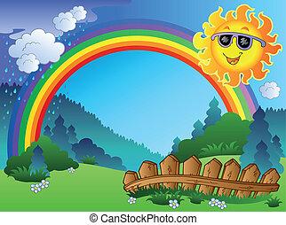 Landschaft mit Regenbogen und Sonne