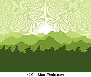 landschaftsbild, abbildung, kiefern, vektor, berg, design, baum