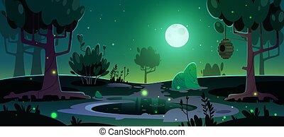 landschaftsbild, bäume, sommer, bienenkorb, teich