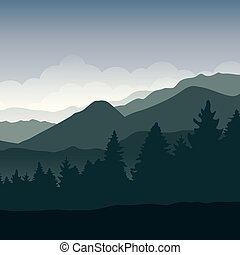 landschaftsbild, berg, grüner wald, hintergrund