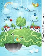 landschaftsbild, fluß, fantasie, schirm, fliegende fische, vögel