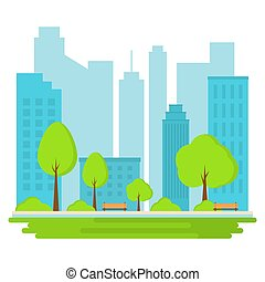 landschaftsbild, illustration., city., öffentlicher park, hintergrund., vektor