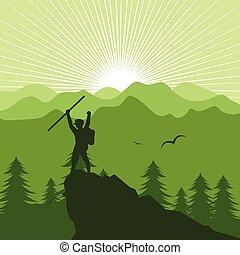 landschaftsbild, leute, berg, abbildung, wandern, vektor