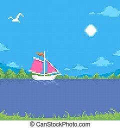 landschaftsbild, segelboot, segel, himmelsgewölbe, sommer, einfache , pixel, kunst, karikatur, weißes, sonnig, möwe fliegen, wohnung, schwimmend, abbildung, scharlachrot