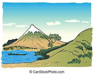 landschaftsbild, vektor, japanisches , abbildung