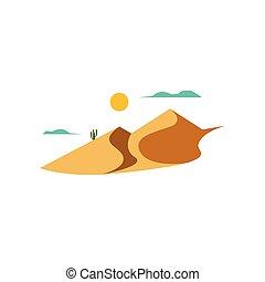 landschaftsbild, wüste, vektor, abbildung
