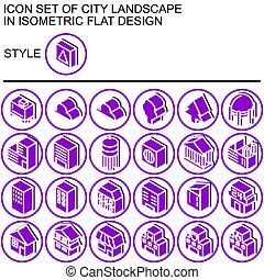 landschaftsbild, wohnung, satz, ikone, design, stadt, 170