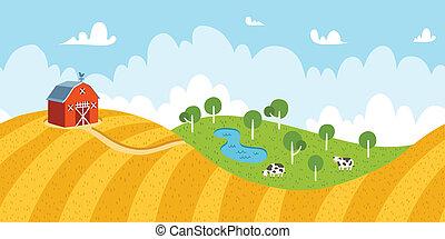 Landschaftslandschaft mit Feldern, Scheunen und Kühen.