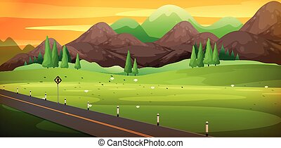 Landstraße mit schöner Bergszene.