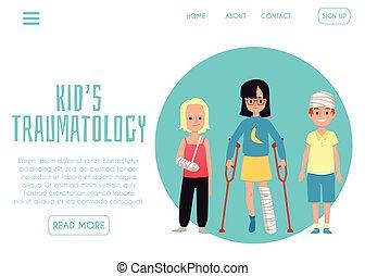 landung, seite, app, traumatology, vektor, abbildung, pädiatrisch, schablone