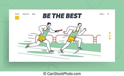 landung, seite, sportler, roh, rennen, template., stadion, überwinden, taktstock, charaktere, rennender , entfernung, mann, stab übergabe