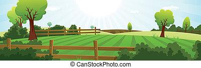 Landwirtschaft und ländliche Sommerlandschaft