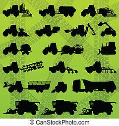 Landwirtschaftliche Industrieanlagen, Traktoren, Lastwagen, Ernter, Kombinationen und Ausgrabungen
