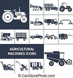 Landwirtschaftliche Maschinen schwarzweiß Symbole gesetzt.