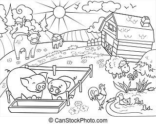 Landwirtschaftliche Tiere und Landschaftsmalvevektor für Erwachsene
