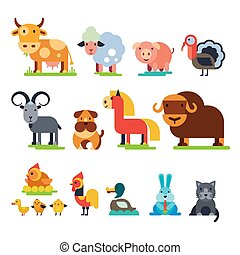 Landwirtschaftliche Tiere Vektoren in der Landwirtschaft Rinder- und Schafhaltung, Schwein, Truthahn, Hund, Pferd und Katzenzüchter veranschaulichen auf weißem Hintergrund.