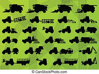 Landwirtschaftsbetriebene Landmaschinen, LKWs, Harvester, kombiniert und Bagger detaillierte Silhouetten Hintergrundvektor.