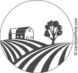Landwirtschaftshaus Vector, Bauernmarkt, Feldlogo, Kreisstempel, Designvorlage.