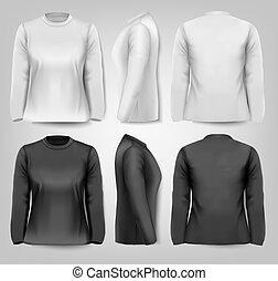 Langärmelige weibliche T-Shirts mit Sample-Textraum. Vector.