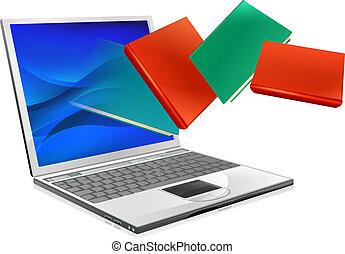 Laptop-Bücher-Ausbildung oder Ebook-Konzept