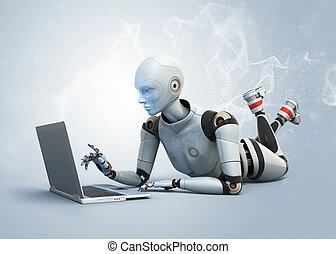 laptop benutzend, roboter, liegen, boden
