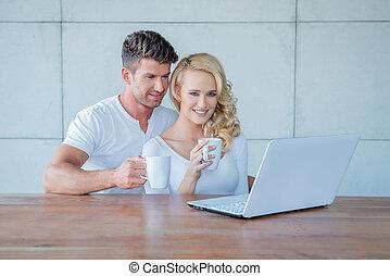 laptop, bohnenkaffee, lesende , trinken, paar
