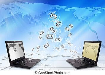 laptop, briefkuvert, e-mail, versenden