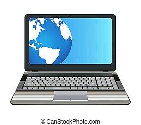 Laptop Computer mit halbem Erdball auf dem Bildschirm.